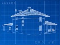 Arkitektonisk bakgrund med en modell för byggnad 3D din vektor för design för konstteckengem Royaltyfri Foto