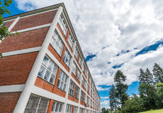 Arkitektonisk design av administrativa byggnader i Zlin, Tjeckien Arkivfoto