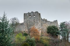 Arkitektonisk detalj av den medeltida slotten av Badenweiler Royaltyfri Foto