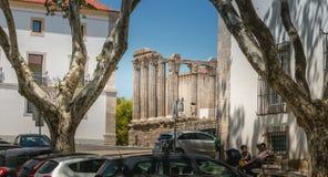 Arkitektonisk detalj av den romerska templet av Evora i Portugal eller fotografering för bildbyråer