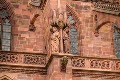 Arkitektonisk detalj av domkyrkan av vår dam av Freiburg Fotografering för Bildbyråer