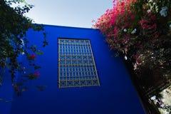 Arkitektonisk detalj av en blå vägg och ett fönster med ett orientaliskt staket på solnedgången i den Majorelle trädgården, Marra Royaltyfri Bild