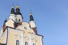 Arkitektonisk detalj av kyrkan av uppståndelsen, Ryssland arkivbild