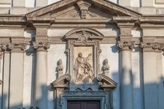 Arkitektonisk detalj av Roman Catholic Baroque San Giuseppe arkivbild