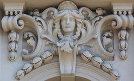 Arkitektonisk detalj på fasaden av en gammal byggnad, Zagreb, Kroatien Arkivbilder