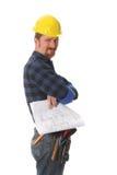 arkitektonisk konstruktion planerar arbetaren royaltyfri fotografi