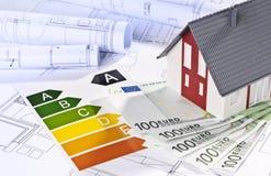 Arkitektonisk modell, arkitektoniska plan, etiketter för energieffektivitet och pengar royaltyfri bild