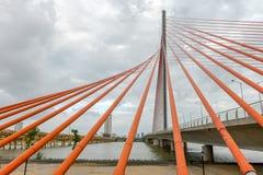 Arkitektonisk skönhet seglar bron Tran Thi Ly Bridge, Da Nang Vietnam Arkivfoton