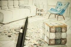Arkitektonisk teckning aquarelle- och färgpulverför frihandsperspektiv av matsal i en lägenhetlägenhet med blyertspennan och penn Vektor Illustrationer