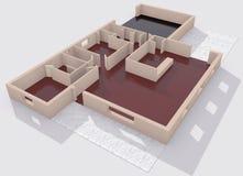 Arkitektonisk Visualization av ett hus Arkivbild