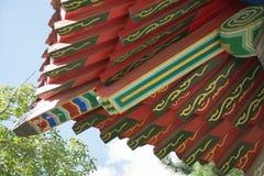 Arkitektoniska detaljer av det kinesiska traditionella taket Royaltyfria Bilder