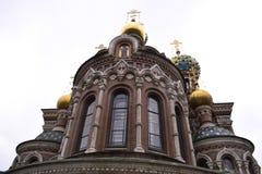 Arkitektoniska detaljer av domkyrkan av frälsaren på Spilled ger första erfarenhet Fotografering för Bildbyråer