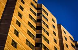 Arkitektoniska detaljer av en hotellbyggnad i i stadens centrum Wilmington fotografering för bildbyråer