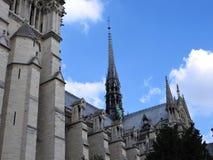 Arkitektoniska detaljer av Notre Dame de Paris Notre Dame Cathedral - den mest berömda gotiska Roman Catholic Cathedral 1163-1345 royaltyfri fotografi
