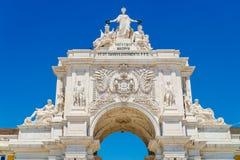 Arkitektoniska detaljer av Rua Augusta Arch In Lisbon City av Portugal Royaltyfri Fotografi