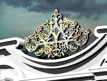 Arkitektoniska detaljer för modell från en metall Royaltyfria Bilder