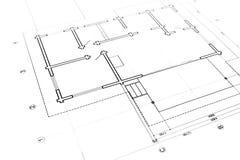 Arkitektoniska eller teknikplan Royaltyfri Foto