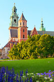 Arkitektoniska komplexa Wawel i Krakow Arkivfoto