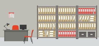 arkitektoniska Kontorsrummet för lagring av dokument vektor illustrationer
