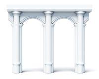 Arkitektoniska objektkolonner välva sig på vit bakgrund framförande 3d vektor illustrationer