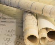 Arkitektoniska plan för konstruktion royaltyfria foton