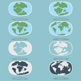 Arkitektoniska plattor på planetjorden den moderna kontinenter och infographicsuppsättningen av symboler sänker stil Royaltyfri Fotografi