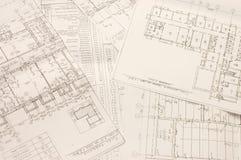 arkitektoniska ritningar Arkivfoto