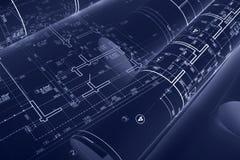 Arkitektoniska ritningrullar och tekniska teckningar på skrivbordet Gör stock illustrationer