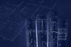 Arkitektoniska ritningrullar, tekniska planteckningar blå ton vektor illustrationer