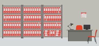 arkitektoniska Rummet för lagring av dokument Arbetsplatsen av arkivarien stock illustrationer