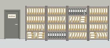 arkitektoniska Rummet för lagring av dokument inre vektor illustrationer