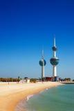 Arkitektoniska symboler av Kuwaitet City Arkivfoto