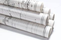 Arkitektoniska teckningar projekterar Arkivbild