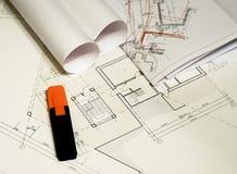 Arkitektoniska teckningar, ritningar, planera för stad Royaltyfria Foton