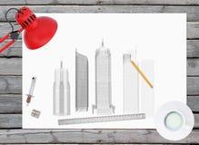 Arkitektoniska tecknings- och kontorstillförsel på Royaltyfri Foto