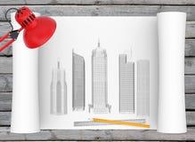 Arkitektoniska tecknings- och kontorstillförsel på Royaltyfri Bild
