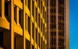 Arkitektoniskt abstrakt begrepp som tas i i stadens centrum Wilmington, Delaware Arkivbild