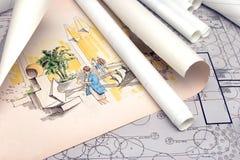 arkitektoniskt liggandeplan Fotografering för Bildbyråer