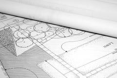 arkitektoniskt liggandeplan arkivbild