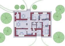 Arkitektoniskt plan av huset Bästa sikt med möblemang också vektor för coreldrawillustration stock illustrationer
