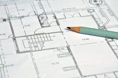 Arkitektoniskt plan och blyertspenna royaltyfria bilder