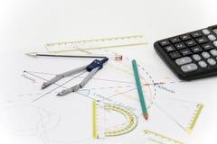 Arkitektoniskt projekt för affär, par av passare, exponeringsglas, regel Royaltyfria Bilder