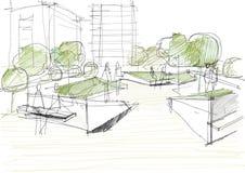 Arkitektoniskt skissa av offentligt parkerar Arkivfoto