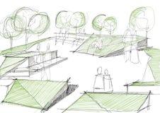Arkitektoniskt skissa av offentligt parkerar stock illustrationer