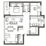 Arkitektoniskt skissa planet av lägenheten för tre sovrum Royaltyfri Foto