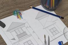 arkitektoniskt teckningshus Royaltyfri Bild