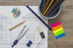 arkitektoniskt teckningshus Arkivbilder