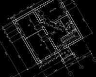 arkitektoniskt teckningsplan för ritning CAD Fotografering för Bildbyråer