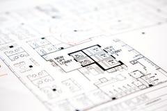 Arkitektoniskt tekniskt projektteckningsplan Royaltyfri Fotografi
