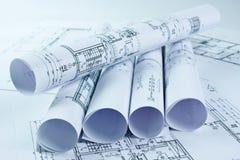 Arkitektrullar och husplan Royaltyfri Fotografi